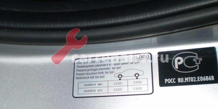 норма давления в шинах автомобиля